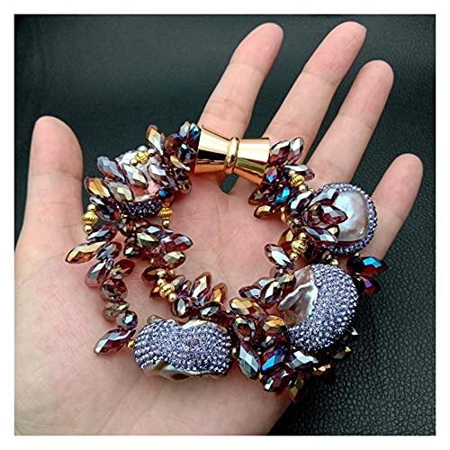 YYYSHOPP Jewelry 8 3 Strands Purple Keshi Freshwater Pearl Faceted Teardrop top drilled Crystal Bracelet Bracelets