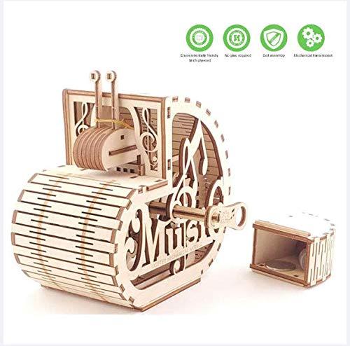 JOSDA 3D Musik-Schnecke aus Holz Puzzle, Assembled Adult 3D Musik-Box, DIY Holz Mechanische Getriebe Music Box Model Kits für Jugendliche und Erwachsene