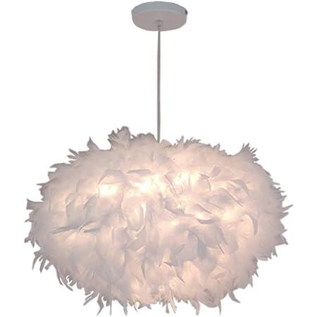 Lustre Suspension en Plumes Blanc E27 45CM, Plafonnier Luminaires Abat-Jour pour Chambre Salon Restaurant(Ampoule Inclu)