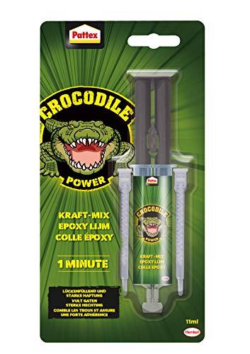 Pattex Crocodile Power Kraft-Mix 1 Min Epoxidharz, starker Epoxy Kleber mit Instant-Mix Spritze, schnelltrocknender Epoxy Resin auch für unebene Oberflächen, 1 x 11ml