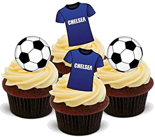 FOOTBALL MIX CHELSEA - 12 Edible Stand Up Premium Wafer Cake Toppers
