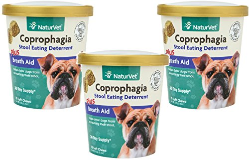 NaturVet 210-Count Coprophagia Stool Eating Deterrent Plus Breath Aid Soft Chews for Dogs, (3 Packages with 70 Chews Each)