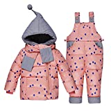 LPATTEN Kids Baby Toddler Winter Snowsuit Polka Dot Puffer Jacket Hoodie Coat Down Snowpants Bib Down Coat 2 Piece Clothing Outfit Set, Pink, Age 2-3 Years/Tag100