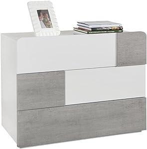 Composad Comò con Tre cassetti Laccato Bianco Lucido e Color Cemento, Metallo, 3