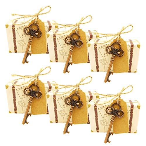Goseare 20PZ Bomboniera Regalo di Nozze Set Scatola di Caramelle Scheletro Chiave Apribottiglie Chiave Vintage Grazie Tag Nastro di Seta