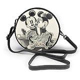 Mickey Minnie moda cuero ronda hombro cartera personalidad impermeable cruz cuerpo bolsa para mujeres y hombres