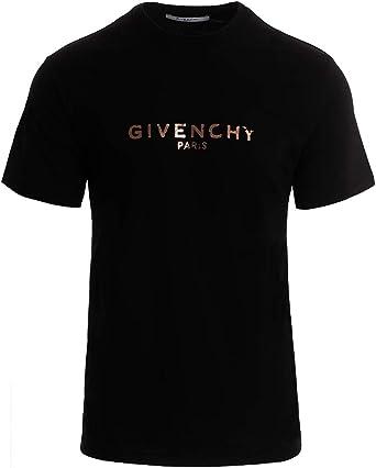 Givenchy Camiseta de hombre negra con logotipo vintage dorado