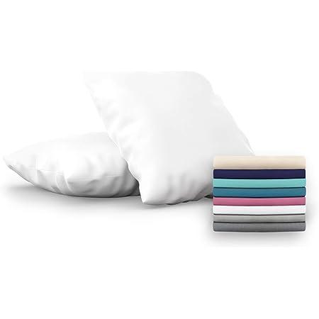 Dreamzie - Set de 2 x Taie d'Oreiller 60x60 cm, Blanc Albâtre, Microfibre (100% Polyester) - Housse de Coussin pour Le Lit Confortable et Hypoallergénique