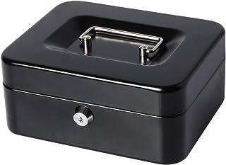 Lovndi Small Cash Box with Money Tray and Lock, Metal Money Box for Cash, Lockbox 7.87x 6.30x 3.54 Inches, Black