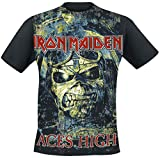 Iron Maiden Aces High Hombre Camiseta Negro S, 100% algodón, Regular