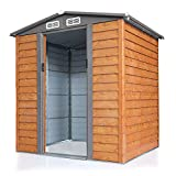 JAXPETY 5x6 Feet Outdoor Garden Backyard Steel Tool Storage Shed Building w/ Sliding Door, Wood Color and Grey