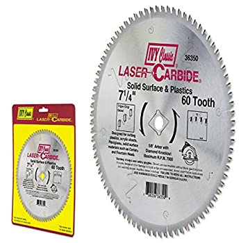 IVY Classic 36350 Laser Carbide 7-1/4-Inch 60 Tooth Solid Surface and Plastic Cutting Circular Saw Blade with 5/8-Inch Diamond Knockout Arbor 1/Card