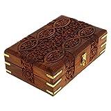 Ajuny Joyero de madera tallada a mano con diseño floral, organizador multiusos de almacenamiento, 20 x 12,5 x 6,5 cm