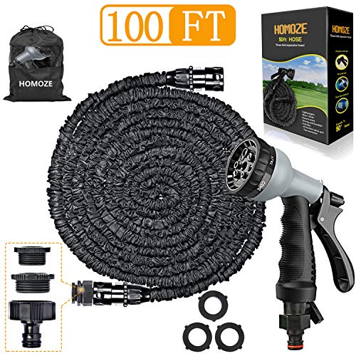HOMOZE 100ft Expandable Garden Hose Pipe with 8 Function Spray Gun Flexible Expanding Water Hose Free Garden Storage/3-in-1 Tap Connector