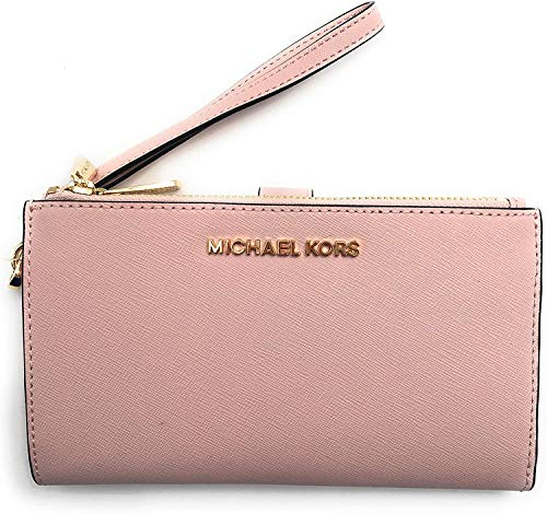 Michael Kors Jet Set Travel Double Zip Saffiano Leather Wristlet Wallet (Blossom), Medium