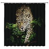 AMHNF Leopard Shower Curtain African Safari Wildlife Leopard Tiger Green Plam Leaf Black Background Asian Watercolor Modern Creative Vivid 3D Print Bathroom Decor Fabric Curtain with Hooks