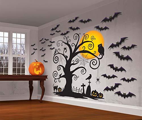 Amscan 670191-55 - Wanddekoration Friendly Family, 32-teilig, Wandtattoo, Gruselparty, Halloween