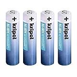KRIPOL Pilas Recargables AAA NiMH 1000mAh bateria Recargable Alta Capacidad y Bajo Nivel de autodescarga 1.2V,4 Piezas