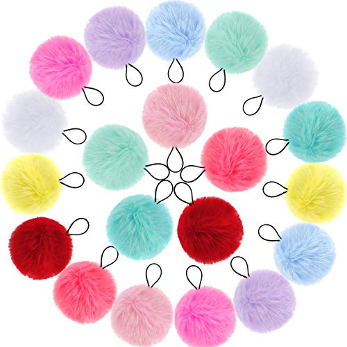 20 Pieces Pom Ball Elastic Hair Ties Cute Pom Hair Bands Pompoms Fluffy Ponytail Holders for Women Girl Kids Hair Accessories, 10 Colors