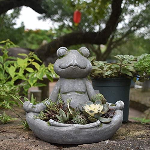 Estatua de decoración al aire libre para el patio de la casa decoración escultura ornamento de jardín figurilla yoga rana planta maceta jardín decoración meditación rana ornamento flor plantador japon