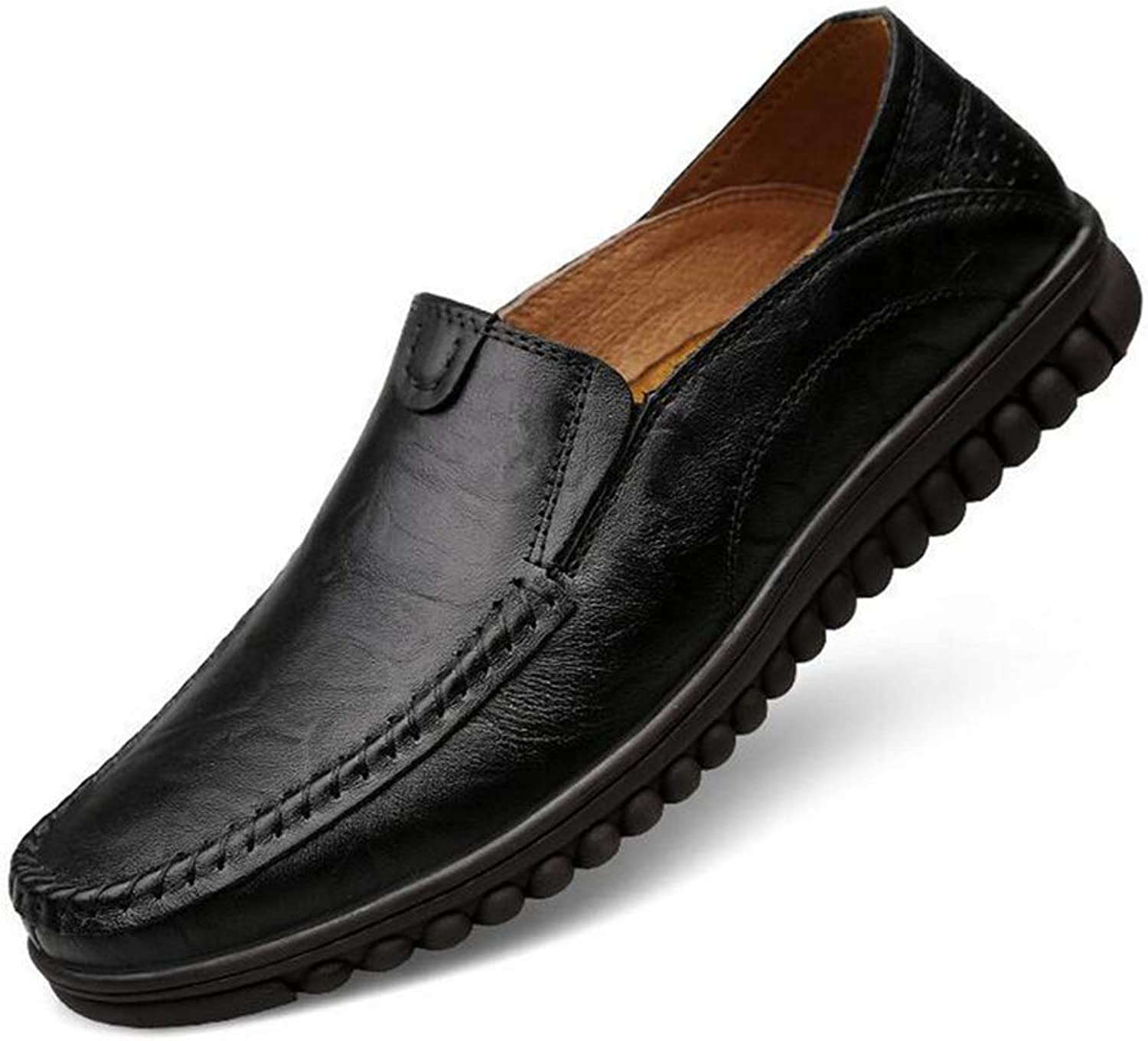 Y-H Men's Formal shoes, Leather Spring Fall Flat Casual Driving shoes, Formal Business shoes,Loafers & Slip-Ons Lazy shoes,black,43