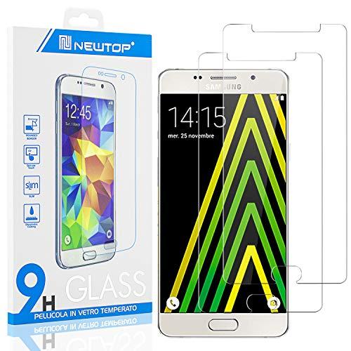 N NEWTOP [2 Pezzi] Pellicola GLASS FILM Compatibile per Samsung Galaxy A5 2016, Fina 0.3mm Durezza 9H in Vetro Temperato Proteggi Schermo Display Protettiva Anti Urto Graffio Protezione