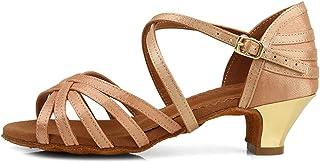JUODVMP Talons Bas Chaussures de Danse Latine Fille de Salon Salsa Pratique Chaussures de Danse Bachata,Modello-SS-ZS