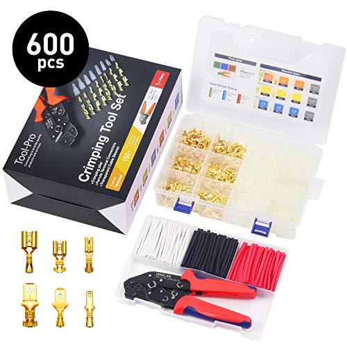 Crimpzange Flachsteckhülsen Set Crimpwerkzeug kabelschuhe set mit 600 stück Spade Kabelschuhe Flachstecker für 0.75-1.5 mm² Kable, Crimp Tool für 2.8/4.8/6.3mm Crimpklemme SOMELINE Crimpzange Set