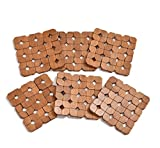 Yellow Weaves™ 6 Piece Bamboo Coasters or Pan Pot Holder Heat Insulation Pad (13 X 13 cm) - Brown