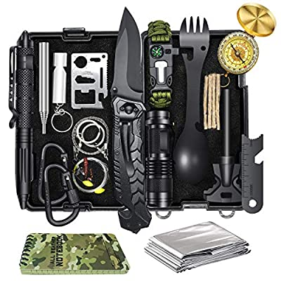 Survival Gear and Equipment, 17 in 1 Emergency Survival Kit for Camping Fishing Hunting, Christmas Birthday Valentines Day Gifts Ideas for Men Him Dad Husband, Cool Gadgets for Boyfriend Teens
