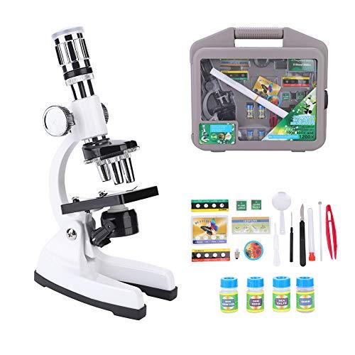 DERCLIVE Microscopio Biológico Infantil para Niños Aumento de 1200X con Juego de Accesorios Blanco