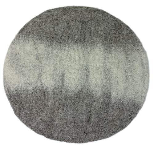 8-Natur® Rundes Stuhlkissen Filz Grau Weiss aus 100% reinem Merinofilz - Polster Sitzkissen mit ca. 35 cm Durchmesser für Stühle, Bänke und als Auflage