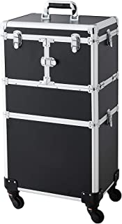 Makeup Case - 2 In 1 Aluminum Professional Cosmetic Organizer Box With Folding Trays and Removable Lid Black