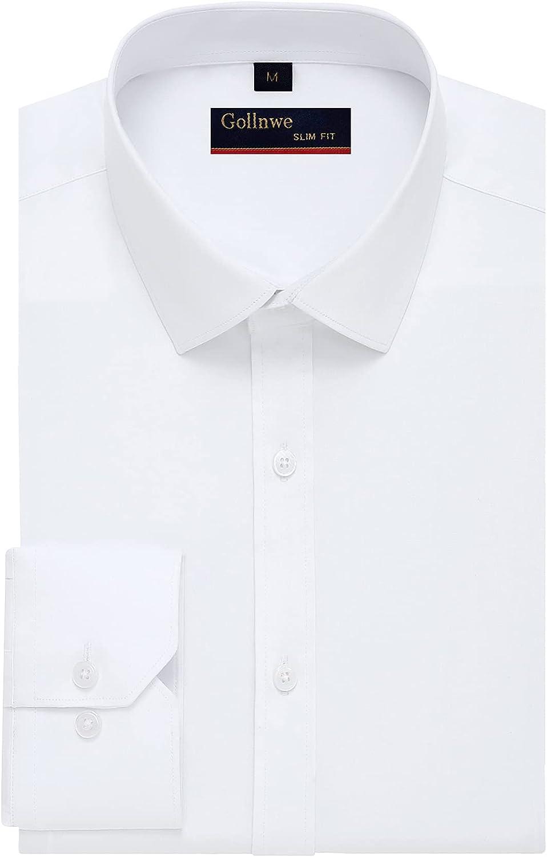 Gollnwe Long Sleeve Solid Shirt Slim Fit Stretch Bamboo Men's Dress Shirts