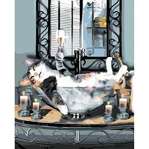 LPHMMD Schilderij Door Getallen DIY Champagne kat Dierlijke DIY Tekenen Door Getallen Foto op Muur Decoratie Kinderen Gift 40 * 60CM