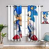 Sonic The Erizo Cortina de ventana de tela con aislamiento térmico para oscurecimiento para sala de estar (55 x 63 pulgadas)