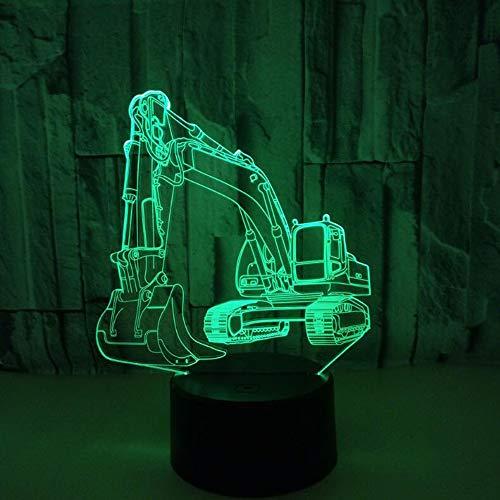 IMFFSE 3D Illusion LED Veilleuse, Excavatrice Créative 7 Couleurs Lampe À Changement Graduelle Table Bureau Deco Lampe Décorations pour Maison Chambre
