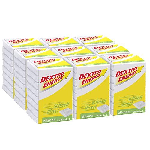 Dextro Energy Würfel Zitrone / Je 8 Dextrose-Täfelchen mit schnell verfügbarem Traubenzucker und zusätzlichem Vitamin C / 9 Packungen (9 x 46g)