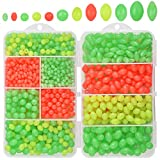 OROOTL Glow Fishing Beads Saltwater Freshwater, 1000pcs Soft Plastic Fish Beads Luminous Round Oval Egg Beads Assortment Fishing Tackle Tools for Rigs Leaders