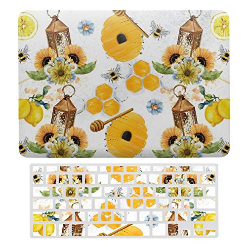 Plastic Hard Shell Case & Keyboard Cover Compatible with MacBook New Pro 13 Touch (Models: A1706、A1989、 A2159), Beautiful Garden Bee Sunflower Laptop Keyboard Membrane Protective Shell Set