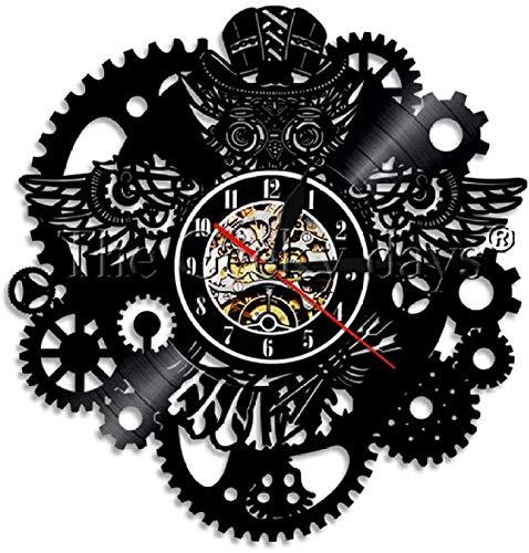 12 Pulgadas Reloj de Pared silencioso de la de Steampunk del de Vinilo de la Pared del Reloj del Engranaje del Reloj Retro Decor,Sin luz