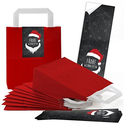 10 rote kleine Geschenktüten Weihnachten Weihnachtstüten mit Boden 18 x 8 x 22 cm + 10 schwarz rot weiße Santa Nikolaus Weihnachtsaufkleber Banderolen 7 x 21 cm, Papiertüten Kraftpapier Henkel