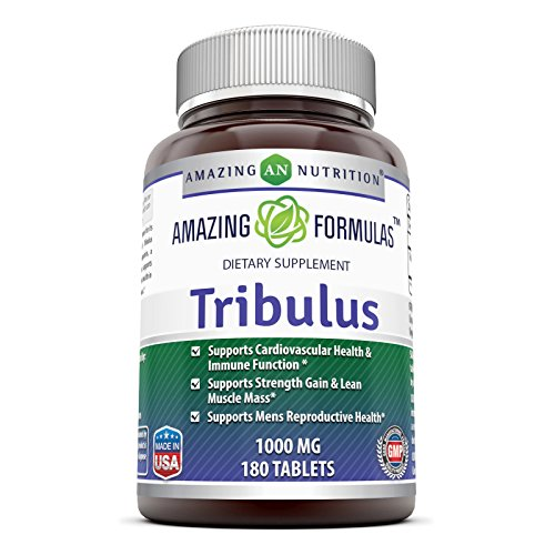 Amazing Formulas Tribulus Dietary Supplement - 1000MG - 180 Tablet per Bottle – Standardized to Contain Min. 45% Saponins - Supports Lean Muscle Mass, Promotes Cardiovascular Health,