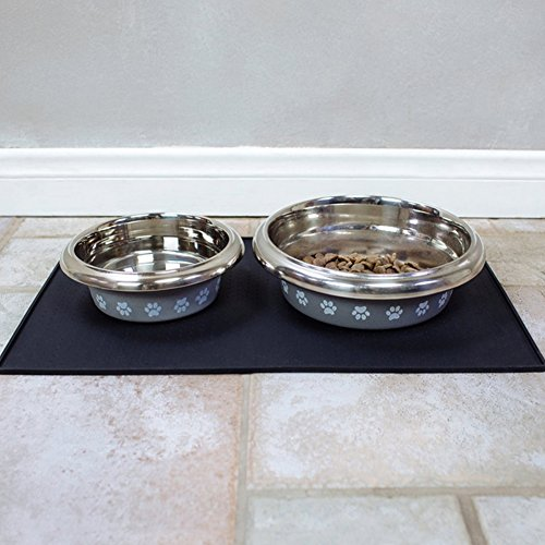 Tiernahrung Wasserdichten Silikon-Anti-Rutsch-Matte Schalen Matte Schalen Matte PET Hund Katze Futternapf Matte Schalen Matte mit einer Grenze eignet sich auch als Führungspolster (L, Schwarz) - 5
