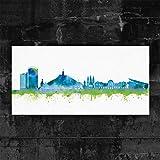 Kunstbruder Kunstdruck auf Leinwand - Bonn Skyline - Blau
