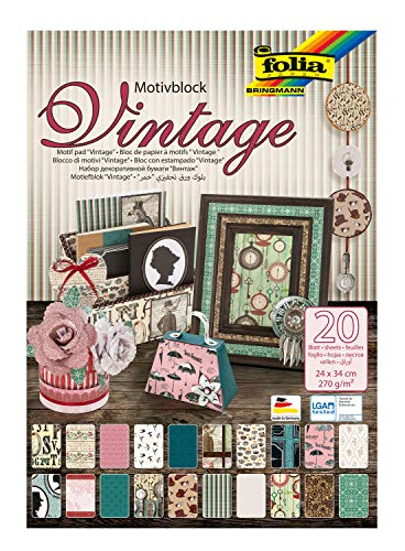 folia 48649 - Motivblock Vintage II, 270 g/qm, ca. 24 x 34 cm, 20 Blatt sortiert in 20 verschiedenen Motiven, zum Basteln und kreativen Gestalten von Karten, Fensterbildern und für Scrapbooking