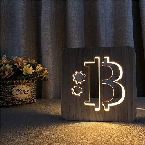 Lámpara de Madera con Forma de Bitcoin, luz de Noche, luz de Mesa Blanca cálida como Regalo para Amigos Directamente