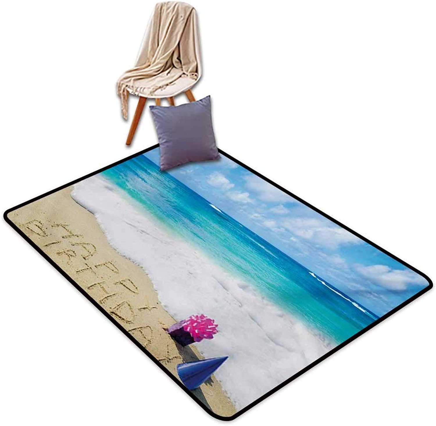 Birthday Large Outdoor Indoor Rubber Doormat Happy Birthday Celebration on Sandy Beach with Party Hat Presents Ocean Water Absorption, Anti-Skid and Oil Proof 32  Wx48 L bluee Pale Brown Pink