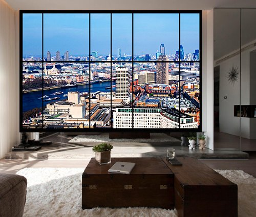 where to buy wallpaper where to buy AWM C6 apartment window view of London, river thames  where to buy wallpaper