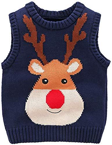 Kindertrui Kerstmis Cartoon Elk Jacquard Katoen Vest Gebreide Coltrui Vest